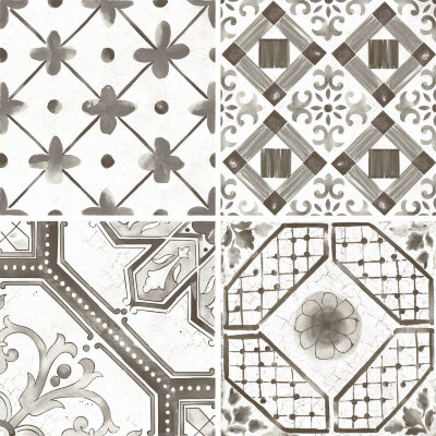 Плитка (60x60) Maiolica Black mix (4 patterns) - Maiolica Mix