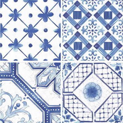 Плитка (60x60) Maiolica Blue mix (4 patterns) - Maiolica Mix