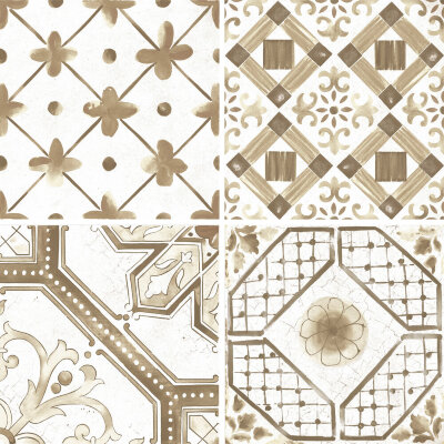 Плитка (60x60) Maiolica Brown mix (4 patterns) - Maiolica Mix